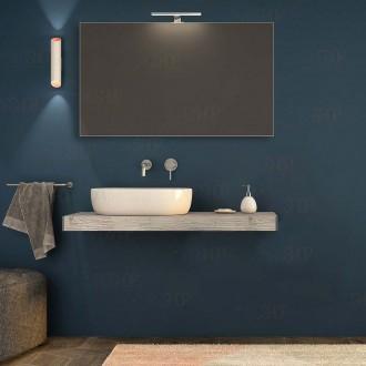 Mensolone Bagno 120 cm Pino sbiancato con specchio e lampada kit di fissaggio incluso