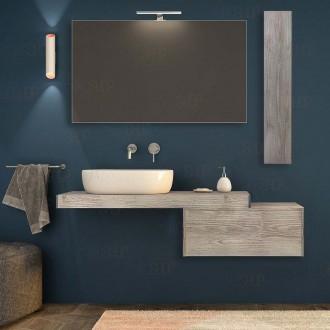 Mensolone Bagno 120 cm Per lavabo da appoggio color legno di  pino sbiancato