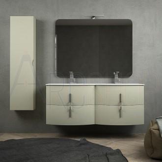 Mobile bagno doppio lavabo sospeso 140 cm grigio natura con cassettoni soft close colonna unica anta specchio e lampada LED