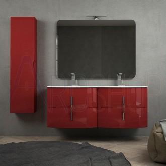 Mobile bagno moderno sospeso rosso lucido doppio lavabo 140 cm con specchiera lampada LED chiusure soft close e colonna