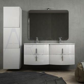 Mobile da bagno doppio lavabo bianco lucido sospeso 140 cm con specchiera lampada LED cassettoni soft close e colonna 170 tre ante