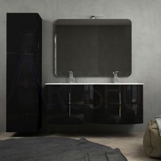 Mobile bagno nero lucido doppio lavabo 140 cm sospeso con specchio applique LED chiusure soft close e colonna tre ante
