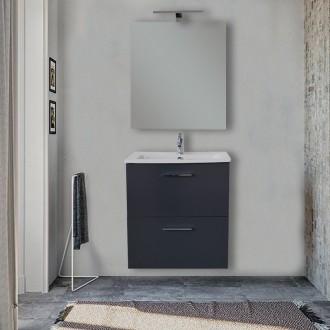 Mobile bagno 60 cm Vitra Antracite con specchio e lampada Led