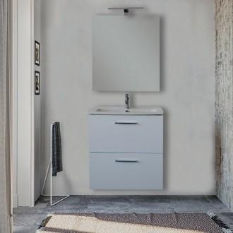 Mobile bagno Vitra 60 cm bianco salvaspazio con specchio e lampada Led