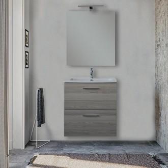 Mobile bagno Vitra 60 cm rovere scuro con specchio e lampada Led