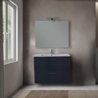 Mobile bagno Vitra 80 cm Antracite con specchio e lampada Led