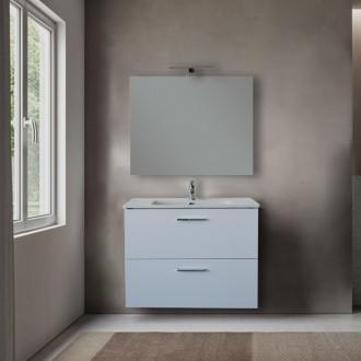 Mobile bagno 80 cm Vitra bianco con specchio e lampada Led
