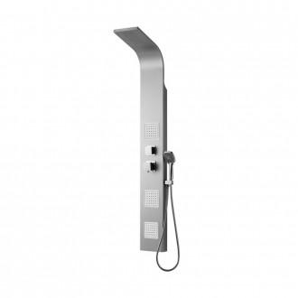 Pannello doccia Otranto in alluminio soffione integrato, 3 soffioni orizzontali,  doccetta monogetto COD 0HR00200CO02