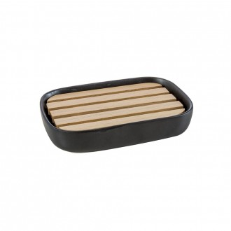 Porta sapone in legno di pesco e ceramica serie Plain Cipì
