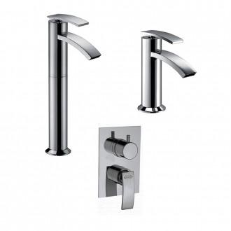 Set miscelatori lavabo alto + bidet + incasso doccia con deviatore Jacuzzi | rubinetteria Ray ottone cromato con PILETTA DI SCARICO INCLUSA