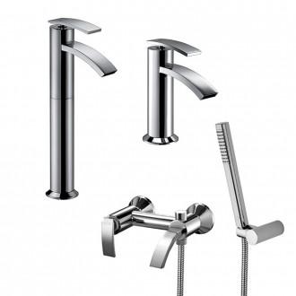 Set miscelatori lavabo alto + bidet + gruppo vasca Jacuzzi | rubinetteria Ray ottone cromato con PILETTA DI SCARICO INCLUSA