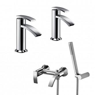 Set miscelatori lavabo + bidet + gruppo vasca Jacuzzi | rubinetteria Ray ottone cromato con PILETTA DI SCARICO INCLUSA