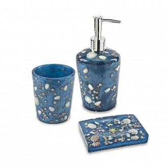 Set accessori da bagno 3 pezzi Antille azzurro Dispenser Bicchiere e Porta sapone