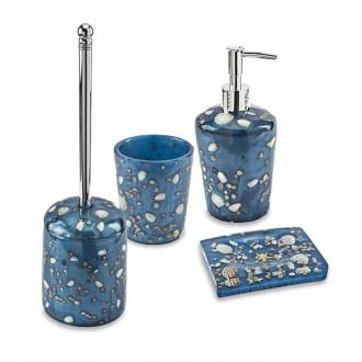 Set accessori da appoggio 4 pezzi Antille azzurro Dispenser Bicchiere Porta sapone e Scopino