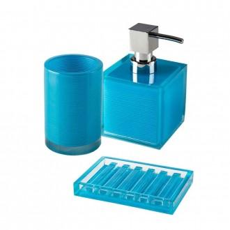 Set accessori 3 pezzi Cip� serie Billy Blue Dispenser Bicchiere e Porta sapone