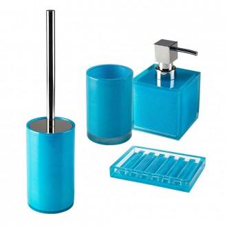 Set accessori 4 pezzi Dispenser Bicchiere Porta sapone e Scopino serie Billy Blue di Cip�