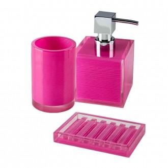 Set accessori 3 pezzi Cip� serie Billy Pink Dispenser Bicchiere e Porta sapone