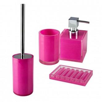 Set accessori 4 pezzi Dispenser Bicchiere Porta sapone Scopino serie Billy Pink di Cip�