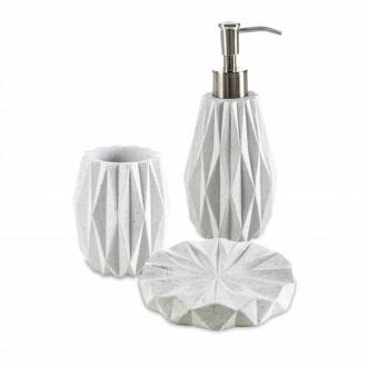 Set da accessori da bagno 3 pezzi Geo White di Cip� Dispenser Bicchiere e Porta sapone