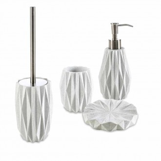 Set accessori da appoggio 4 pezzi Geo White di Cip� Dispenser Bicchiere Porta sapone e Scopino