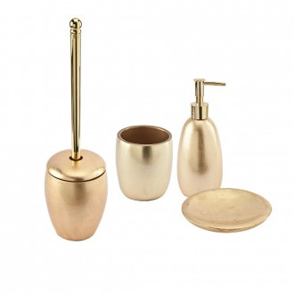Set accessori bagno da appoggio 4 pezzi Dispenser Bicchiere Porta sapone e Scopino finitura foglia oro