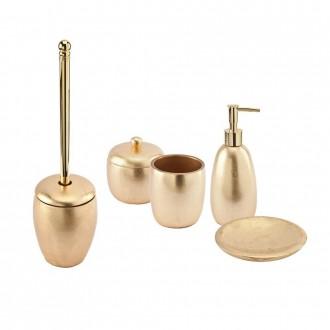 Set accessori da appoggio 5 pezzi Dispenser Bicchiere Porta sapone Porta cotone e Scopino finitura foglia oro