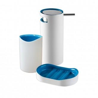 Set 3 pezzi accessori da appoggio serie Idol Dispenser Bicchiere e Porta sapone