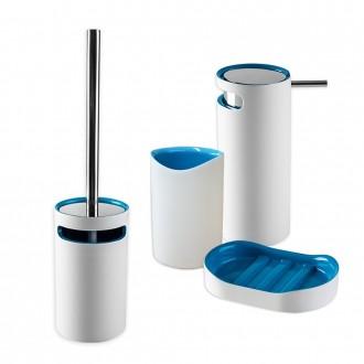 Set 4 pezzi accessori da bagno serie Idol Dispenser Bicchiere Porta sapone e Scopino