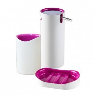 Set 3 pezzi accessori da appoggio serie Idol Dispenser Porta sapone e Bicchiere
