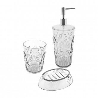 Set 3 pezzi Jolie Clear cip� Dispenser Bicchiere e Porta sapone