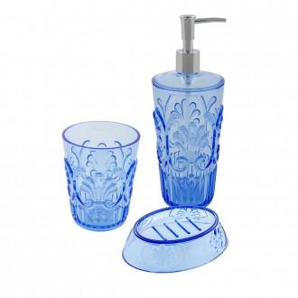 Set 3 pezzi Jolie Zaffiro Cip� Dispenser Bicchiere e Porta sapone