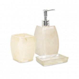 Set 3 pezzi accessori da bagno Dispenser Bicchiere e Portasapone serie Perla Cip�