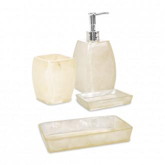 Set 4 pezzi accessori da bagno serie Perla Cip� Dispenser Bicchiere Portasapone e Vassoio