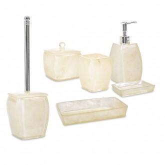 Set 6 pezzi accessori da bagno serie Perla Cip� Dispenser Bicchiere Portasapone Scopino Porta cotone e Vassoio