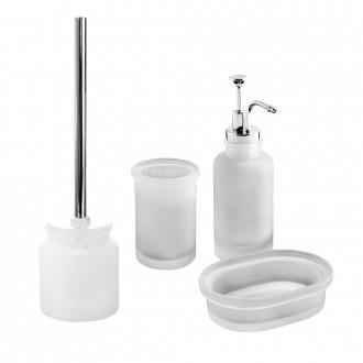 Set accessori 4 pezzi in vetro satinato serie Pharmacy opalino di Cip� Dispenser Bicchiere Porta sapone Scopino