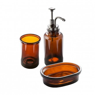 Set accessori 3 pezzi in vetro serie Pharmacy ambra di Cip� Dispenser Bicchiere Porta sapone