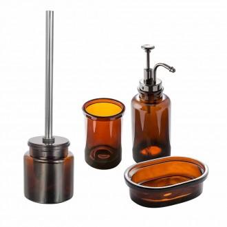 Set accessori 4 pezzi in vetro ambra serie Pharmacy di Cip� Dispenser Bicchiere Porta sapone Scopino