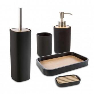 Set accessori 5 pezzi Plain nero di Cipì Dispenser Bicchiere Portasapone Vassoio e Scopino