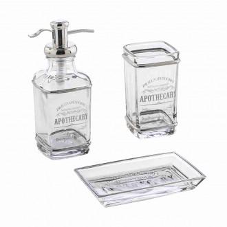 Set 3 pezzi in vetro Cip� serie Retr� Dispenser Bicchiere e Porta sapone