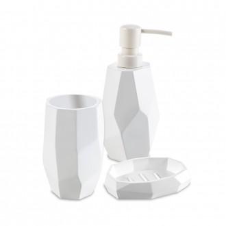 Set da appoggio 3 pezzi surface Bamboo di Cip� Dispenser Bicchiere e Porta sapone