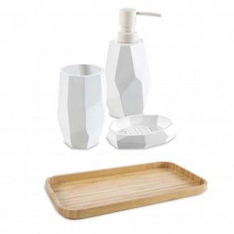 Set accessori da bagno 4 pezzi surface Bamboo di Cip� Dispenser Bicchiere Porta sapone e Vassoio