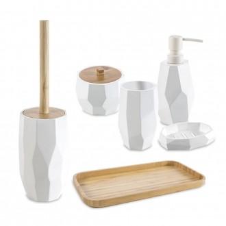 Set accessori 6 pezzi surface Bamboo di Cip� Dispenser Bicchiere Porta sapone Vassoio Scopino e Porta cotone