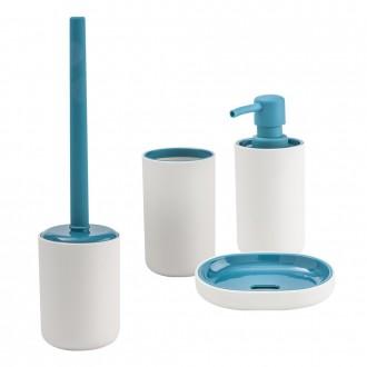 Set 4 pezzi accessori da appoggio Dispenser Bicchiere Porta sapone e Scopino True Colors di Cip�