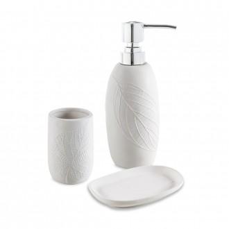 Set accessori 3 pezzi in ceramica Dispenser Bicchiere e Porta sapone Cip� serie White Leaves