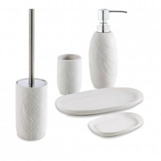 Set accessori 5 pezzi in ceramica Dispenser Bicchiere Porta sapone Vassoio e Scopino Cip� serie White Leaves