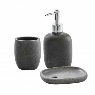 Set accessori da bagno 3 pezzi Dispenser Bicchiere e Porta sapone Zen grigio