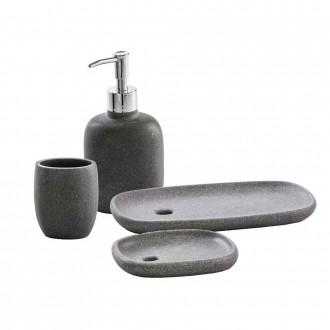 Set accessori da appoggio 4 pezzi Dispenser Bicchiere Porta sapone e Vassoio Zen grigio