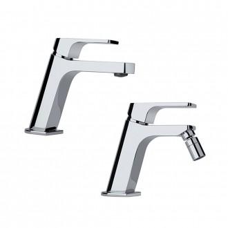 Set miscelatori lavabo + bidet Jacuzzi | rubinetteria Twilight ottone cromato con PILETTA DI SCARICO CLIC CLAC INCLUSA