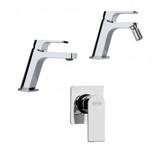 Set miscelatori lavabo + bidet + incasso doccia Jacuzzi | rubinetteria Twilight ottone cromato con PILETTA DI SCARICO CLIC CLAC INCLUSA