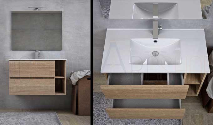 mobile bagno lineare sospeso